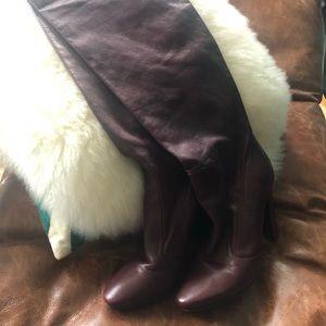JIMMY CHOO Burgundy Knee High Boots